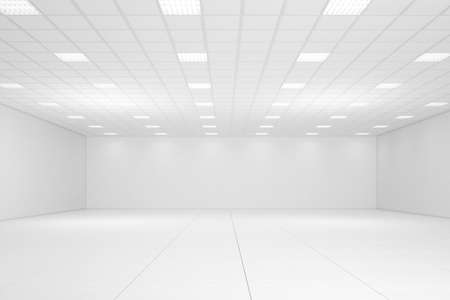 ceiling light: Empty white room with neon lights and white walls