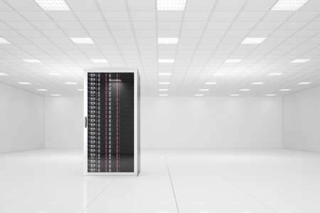 Data center with a single rack and copy space Stock Photo - 19845233