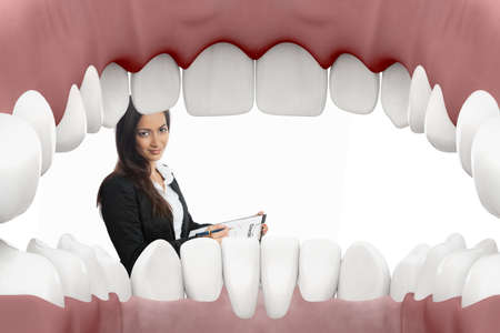 dentition: Female dentist looking into mouth with white background