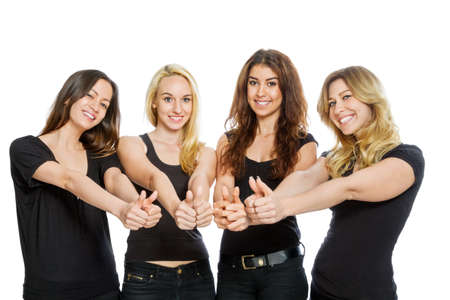 four friends: Group of girls with thumbs up isolated on white