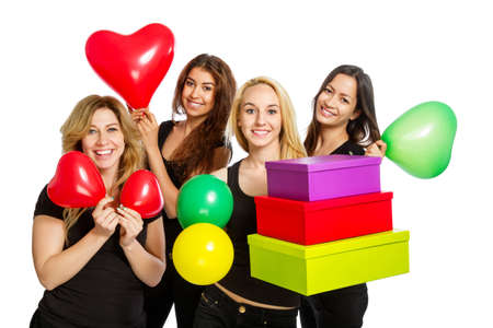 Girls having a party with baloons on white background photo