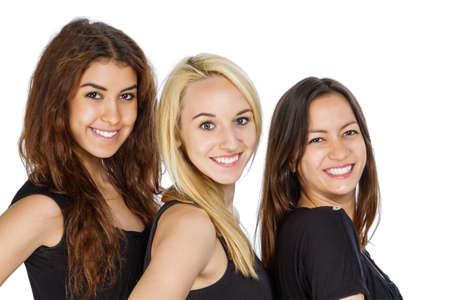 Three Girls in a row with isolated background photo