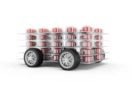medical distribution: Pills fast delivery with read pills and wheels