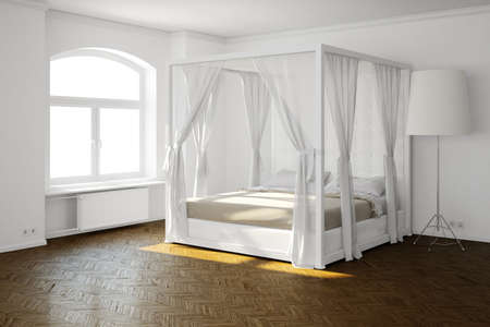 Sleeping room with bed and hardwood floor Stock Photo