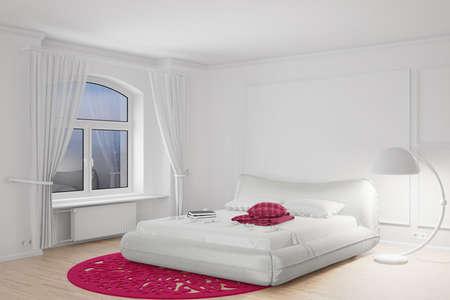Bedroom in the dark with bright standing lamp Standard-Bild