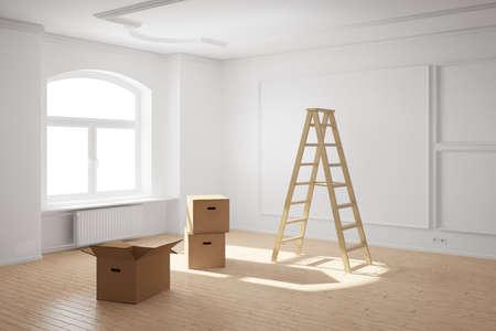 trasloco: Stanza vuota con scala e scatole di cartone e pavimento in legno Archivio Fotografico