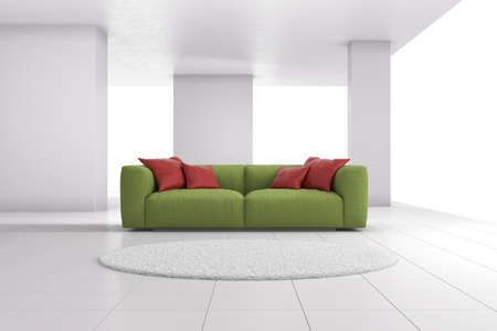 Green sofa in bright room with red cushions Stock Photo - 20894113