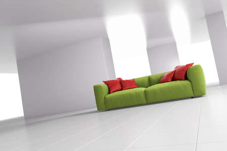 uncarpeted: Green sofa in bright room with red cushions