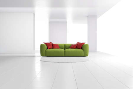 Green sofa in bright room with red cushions Stock Photo - 20894115