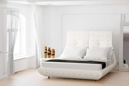 臥室有鏡子和明亮的窗戶與窗簾 版權商用圖片