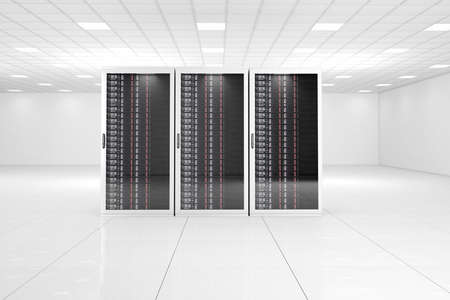 datacentre: Computer center with three racks in white room