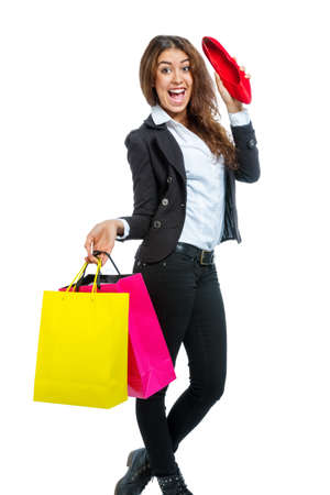 vivacious: Girl with shopping bags isolated on white background Stock Photo