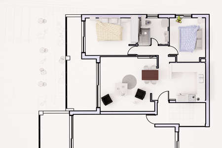 Topview of construction plan with furnitures photo