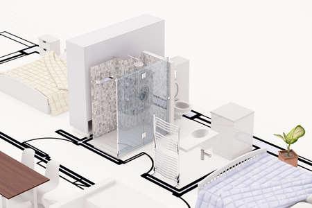 Bovenaanzicht van bouwplan met meubels Stockfoto