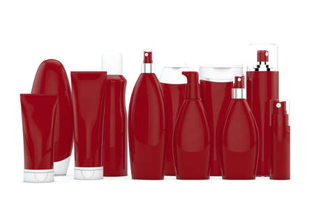 unlabelled: Red cosmetic bottles on white background in two rows