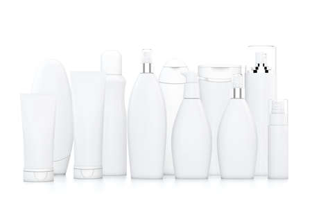 unlabelled: White cosmetic bottles on white background in two rows Stock Photo