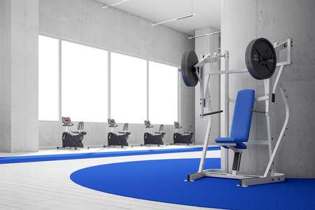 Gym with blue carpet and big windows