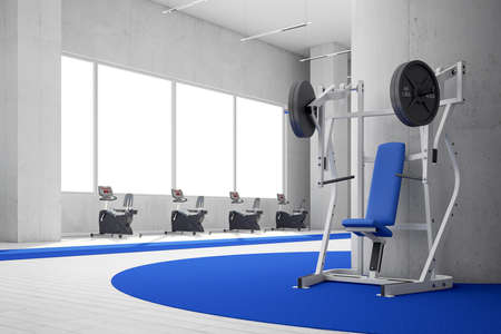 fitness equipment: Gym with blue carpet and big windows