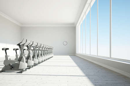 Gym with big windows and clock concept photo