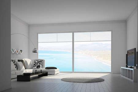 Mediteran Innenraum mit großen Fenstern und Blick auf das Meer