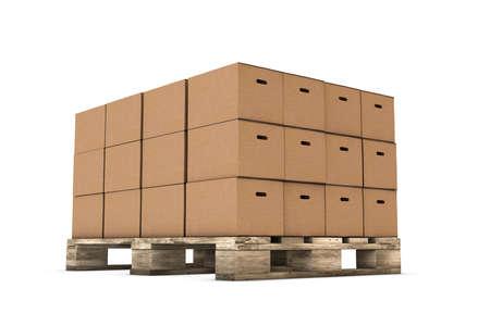 Heften von Kartons auf weißem Hintergrund