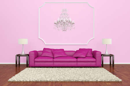 Pink sofa with chandelier and brown carpet on wooden floor Stock Photo - 20995343
