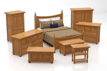 Sleeping room furniture collection on reflective ground photo
