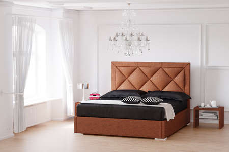 bedside: Sleeping room with brown bed and chandelier