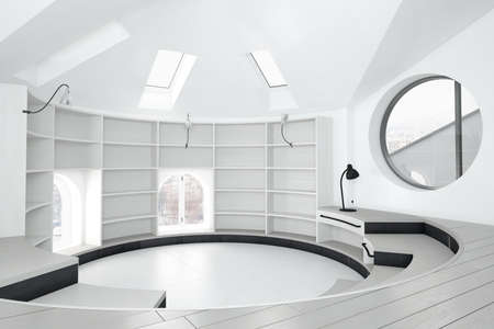 Empty library room with round windows and bright exterior photo