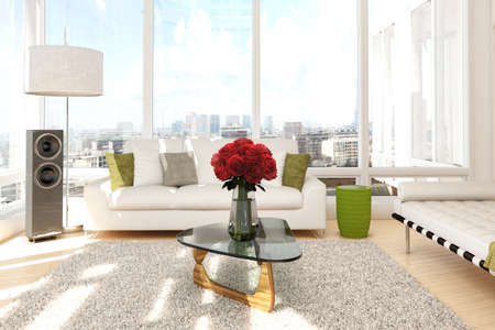 apartment interior: Urban loft with roses and sofa with view of a city