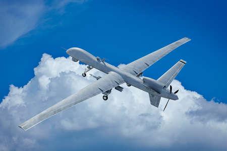 Drone voando nas nuvens vista de cima Imagens