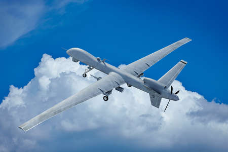 Drone flying in the clouds top view