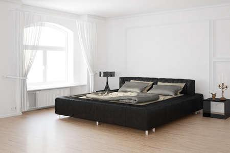 Sleeping room with candles and hardwood floor