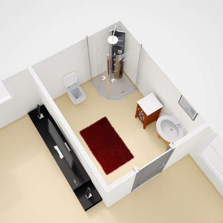visualisation: Construction plan interior with bathroom and carpet