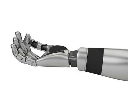 격리 된 흰색 배경을 가진 로봇 팔의 근접 촬영
