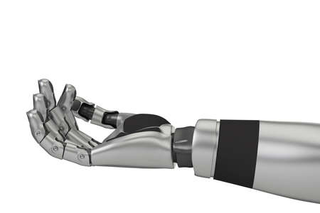 Robot arm closeup with isolated white background