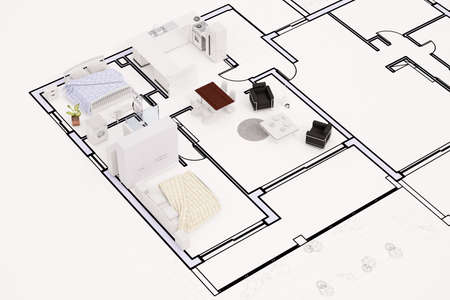 compact: Topview of construction plan with furnitures