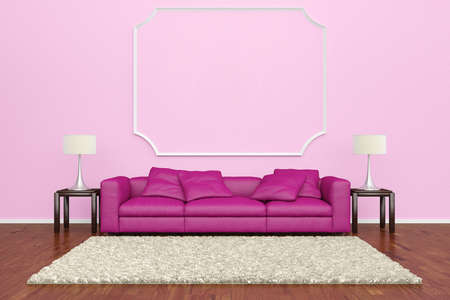 Pink sofa with wall decoration and brown carpet on wooden floor