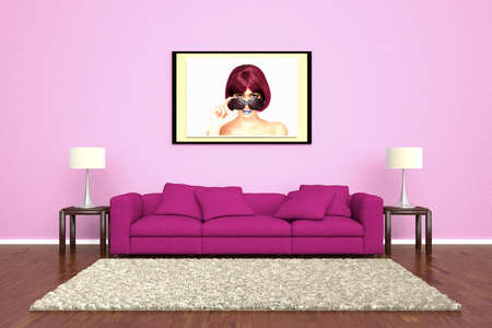 Pink sofa with picture attached to wall and brown carpet photo