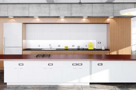 Modern kitchen with wood, concrete and white boards photo