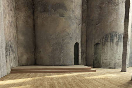 Empty industrial hall with grunchy walls and wooden floor photo