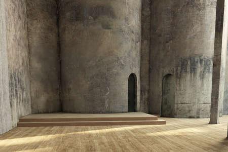 Leere Industriehalle mit grunchy Wänden und Holzboden