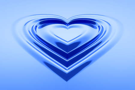 unusual valentine: Hear shaped water drops in blue color