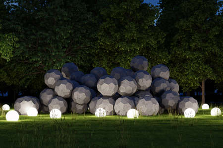 architectural lighting design: Night exterior garden with illuminated spheres concrete blocks Stock Photo