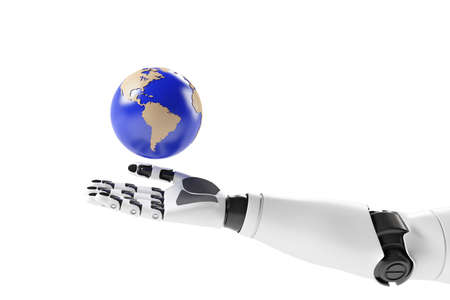 Hand of a robot with earth on white background