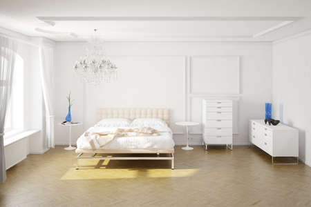 accommodation space: Modern bedroom with cupboards and decorations central view