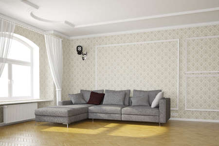 security room: Living room with cctv camera and grey sofa