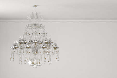 old chandelier on white wall with copy space Stock Photo - 21551654