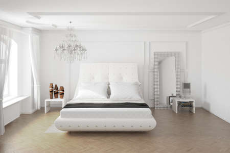 bedclothes: Modern bedroom with mirror and decoration central view
