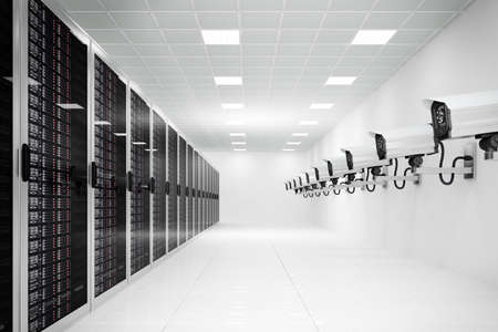 datacenter with cctv camera in a long row